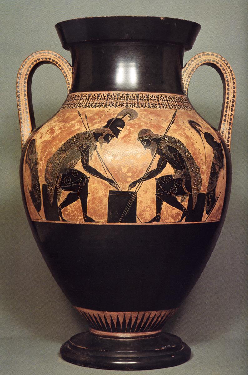 Ánfora 344 de Exekias – Aquiles y Áyax jugando a los dados.  c. 540-530 a. C., Museos Vaticanos.